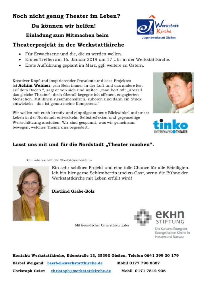 Ankündigung des Theaterprojekts mit Achim Weimer