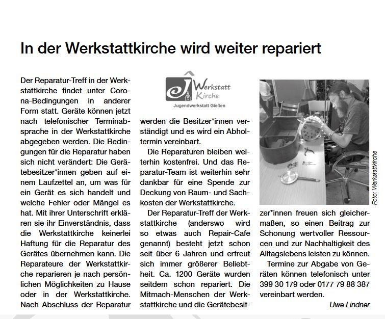 Bericht darüber, dass der Reparaturtreff der Werkstattkirche weiterhin stattfindet - trotz Corona