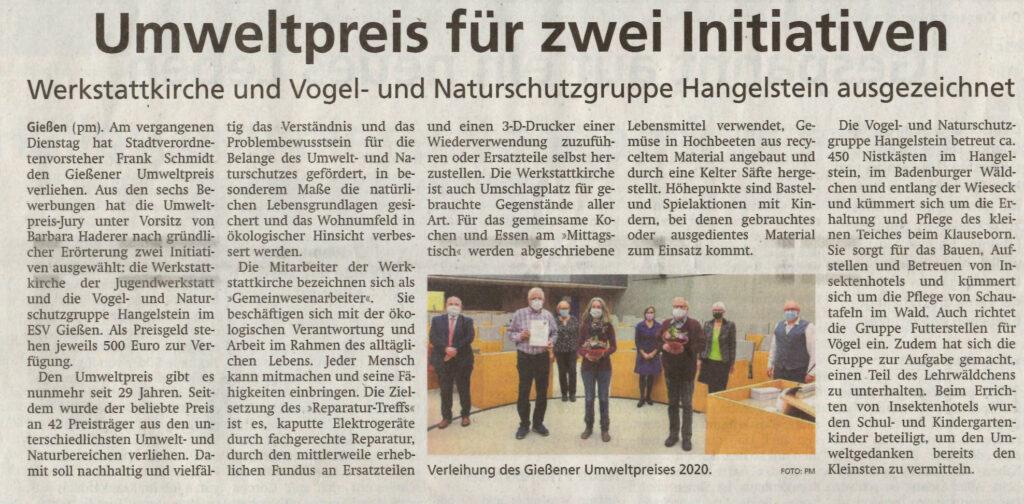 Artikel über die Verleihung des Gießener Umweltpreises an die Werkstattkirche und die Naturschutzgruppe Hangelstein